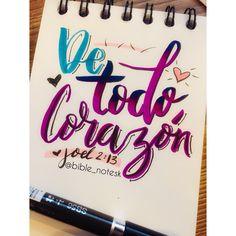 """""""Rásguense el corazón y no las vestiduras. Vuélvanse al Señor su Dios, porque él es bondadoso y compasivo, lento para la ira y lleno de amor, cambia de parecer y no castiga."""" Joel 2:13 NVI . . . #lettering  #arte #art #biblia #bible  #bibleverse  #verciculosbiblicos  #notes @prismacolor  #prismacolor #prismacolorjunior 🥰 @stabilocolombia @stabilo #stabilo #stabiloboss #brushlettering #brushpen Stabilo Boss, Prismacolor, Calligraphy, Lettering, Bible, Dios, Lyrics, Art, Drawing Letters"""