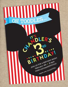 ideas for down the road... Mickey Mouse Birthday Party Invitation by papernplay on Etsy, $15.00 for digital file
