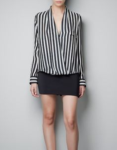 STRIPED WRAP BLOUSE - totally love