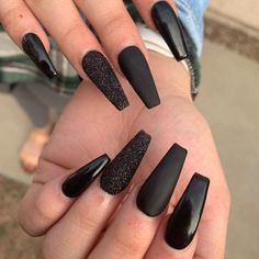 Black nails Black coffin nails More from my site Halloween Nails Black Nails With Glitter, Black Acrylic Nails, Black Coffin Nails, Matte Black Nails, Best Acrylic Nails, Long Black Nails, Black Nail Art, Black Acrylics, Cute Nails