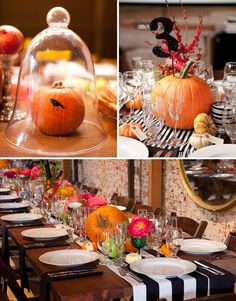 Halloween themed wedding centerpieces with pumpkins, black and white stripes and fall flowers. Photo by Erin Hearts Court