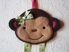 Monkey Bow Holder Monkey Clip Holder Hair Bow by MacAndRoniDesigns