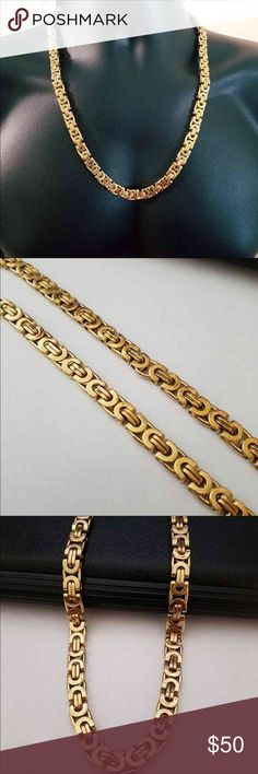 18k gf Beautiful Chain/ Necklace is made out of 24k  gold filled over stainless steel  and it has all the great characteristics of solid gold jewelry It won't tarnish or discolor  gold filled is much more valuable and tarnish resistant than plated.. please do not compare gold filled to gold plated cause there are no comparison., As filled literally has 100% more gold than plating. High Quality... No Stamp.. Hypoallergenic, Nickel-Free. Length: 24 inches  Weight: 83.5g Width: 8 mm Accessories…