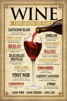Wine From Around The World Tin Sign Good Wine Friends Good Life Merlot Syrah Guide Vin, Wine Guide, Vintage Wine, Retro Vintage, Vintage Metal, Vintage Style, Vintage Decor, Wine Parties, In Vino Veritas