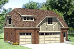 Garage Plan 94399 | Tudor Plan with 619 Sq. Ft., 1 Bedrooms, 1 Bathrooms, 3 Car Garage