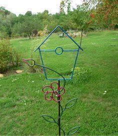 Grande décoration de jardin Sculpture Ideas, Welding Projects, Wrought Iron, Ideas Para, Home Decor, Gardens, Iron, Vases, Craft
