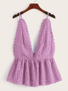 Shop Eyelet Embroidery Ruffle Hem Cami Top at ROMWE, discover more fashion styles online. Cute Summer Outfits, Casual Outfits, Cute Outfits, Fashion Outfits, Womens Fashion, Sewing Clothes, Diy Clothes, Looks Style, My Style