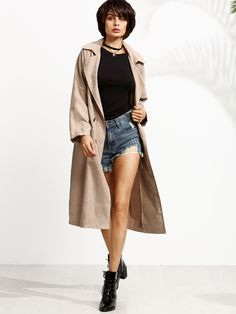 Shop Khaki Double Breasted Trench Coat online. SheIn offers Khaki Double Breasted Trench Coat & more to fit your fashionable needs.