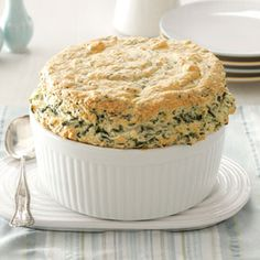 Spinach Pantry Souffle Recipe - 1 serving equals 140 calories, 8 g fat (3 g saturated fat), 90 mg cholesterol, 453 mg sodium, 7 g carbohydrate, 1 g fiber, 12 g protein. Diabetic Exchanges: 2 medium-fat meat, 1/2 starch.