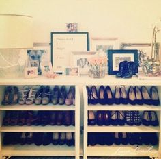 Lauren Conrad. Photo Diary: Organizing, Karaoke  Sushi Dates.Low bookcases for shoe storage with lamps and picture frames to top it off. [ Stolen from Ms. Swedo. :) ]