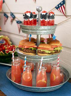 Love the strawberries blueberries and cream!  Brunch Picnic Ideas | Patriotic Picnics