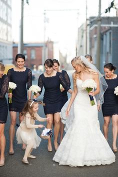 These lace bridesmaid dresses are oh so chic!