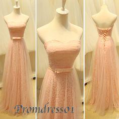 2015 cute sweetheart strapless a-line modest pink lace chiffon long prom dress for teens, homecoming dress, ball gown, evening dress, grad dress, plus size dresses #promdress #wedding