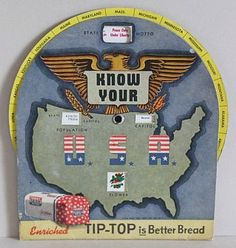 "Vintage 1944 TIP-TOP Bread WWII Era Advertising: ""Know Your U.S.A"" by MADsLucky13, $9.50"