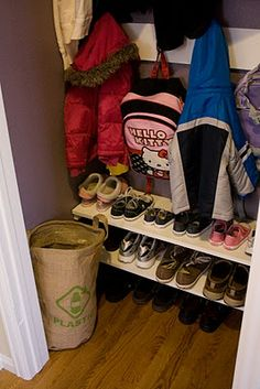 Now there's a good idea - Hall closet as mini mudroom.