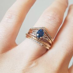 One of a kind vintage sapphire and diamond ring with the Gentle Diamond Point Ring, Square Wire Ring and 6 stone Queenie - all available in the studio or online