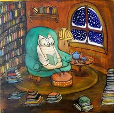 Johanna Wright: Snowy Owl (would rather be reading.) Owl looks warm and cozy reading on a cold winter's eve Art And Illustration, Illustrations, Art Fantaisiste, Owl Art, Reading Art, Reading Nook, Snowy Owl, I Love Books, Whimsical Art
