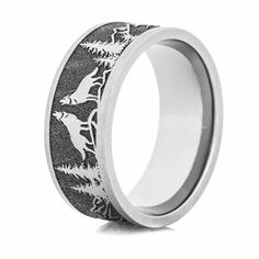 Thorsten Black Panther Custom Design Flat Polished Tungsten Carbide Ring 10mm Wide Wedding Band from Roy Rose Jewelry
