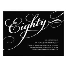 Black and White Elegant 80th Birthday Invitations