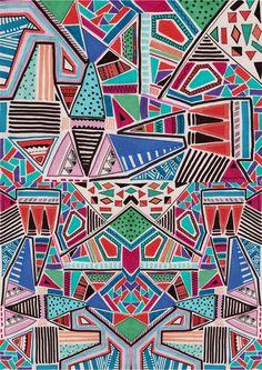 JAMBOREE M O T I F Art Print by Vasare Nar #geometric