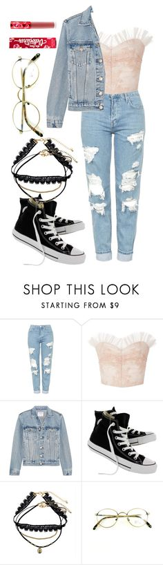 """""""pink lace + denim"""" by angels-and-ametrines ❤ liked on Polyvore featuring Topshop, Rodarte, Frame, Converse and Decree"""