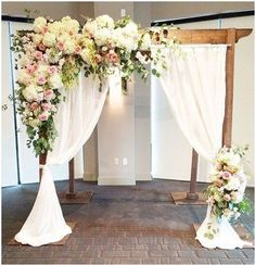 Ceremony Backdrop Favorites of Pretty wedding arch for an outdoor wedding.if wanting to save money hydrangeas could be used since their blooms are so large Arch Decoration, Ceremony Decorations, Beautiful Decoration, Indoor Wedding Decorations, Ceremony Backdrop, Wedding Ceremony, Wedding Arches, Wedding Pergola, Backdrop Wedding