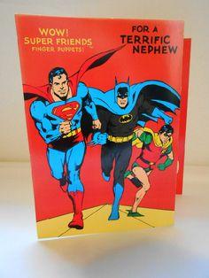 Superman / Batman DC Comic Nephew Birthday Card - UNUSED 1983