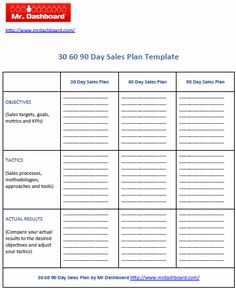 30 60 90 day business plan template rmartinezedu pinterest the way to make effective tactical business plan wajeb Images