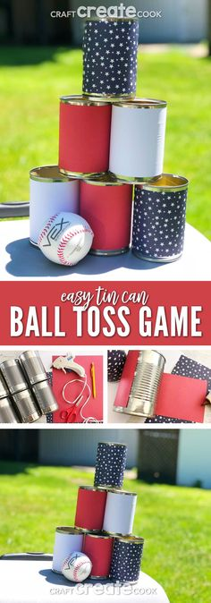 Backyard games 56224695333410200 - Our Easy Tin Can Ball Toss Game is the perfect backyard game and it only takes a few minutes to make. via Craft Create Cook Source by Upliftingmayhem Halloween Carnival Games, Diy Carnival Games, Carnival Games For Kids, Easy Games For Kids, Summer Activities For Kids, Indoor Activities, Family Activities, Diy Yard Games, Diy Games