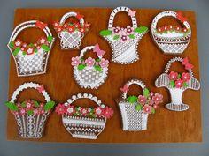 Cookie Baskets, Ginger Cookies, Ginger Bread, Basket Weaving, Gingerbread Cookies, Easter, Frosted Cookies, Cookies, Embroidery
