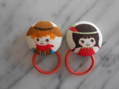 Cowboy and Indian Girl Ponytail holders make adorable party favors by babyraindrops. www.babyraindrops.etsy.com.