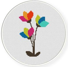 FREE for Oct 29th 2014 Only - Modern Flowers Cross Stitch Pattern