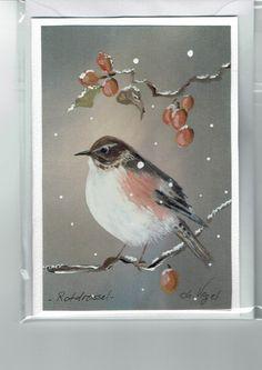 Grüße - Grußkarte - Rotdrossel, handgemalt - ein Designerstück von Vogelmalerin…