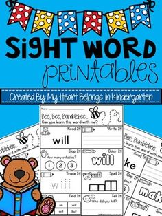 Sight Word Printables to use in Kindergarten to help teach students the correct way to write and spell word with fun activity work sheets. Sight Words Printables, Sight Word Worksheets, Kindergarten Reading Activities, Kindergarten Language Arts, Preschool Sight Words, Sight Word Activities, Word Work Stations, Sight Word Practice, Learning Time