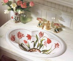 KOHLER Fables & Flowers bathroom sink and faucet - we have this sink, now how to use it for the half bath? Ideal Bathrooms, Chic Bathrooms, Beautiful Bathrooms, Shabby Vintage, Vintage Sink, Bathroom Basin, Basin Sink, China Painting, Flower Decorations