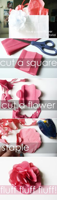 tissue paper flower. >>love how this dresses up the plain  gift bag