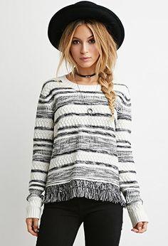 Fringed-Hem Stripe Sweater | Forever 21 - 2000140878