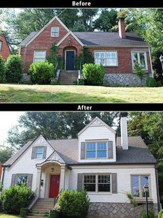 Ideas House Renovation Before And After Fixer Upper Exterior Makeover Home Exterior Makeover, Exterior Remodel, Exterior House Colors, Exterior Design, Exterior Paint, Exterior Homes, Home Renovation, Home Remodeling, Basement Renovations
