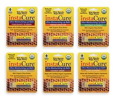 InstaCure Six Amazing USDA Certified Organic UltraMoisturizing Lip Balm Flavors with Manuka Magic Honey Ingredients include Cocoa Butter and Shea Butter -- Find out more about the great product at the image link-affiliate link