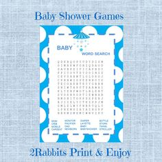 #Baby #Word #Search #Game-Boy #Baby #Shower-Printable by 2RabbitsPrintEnjoy