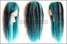 Turquoise, silver, grey synthetic dread wig - turquoise dreadlock wig - Made to order