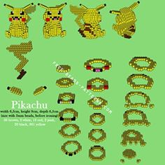 pärla, pärlplatta, pärlplattor, mönster, pärlplattemönster, 3D, Pikachu, Pokémon