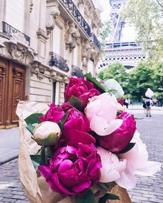 Light pink and hot pink peonies. Peony bouquet from the flower market in front of the Eiffel Tower in Paris, France.