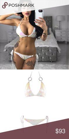 White Queen Sequin trendy Bikini Model wearing size S Fashion Miami styles Swim Bikinis