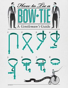 How To Tie A Bow Tie, A Gentleman's Guide. An infographic as a YouTube alternative...