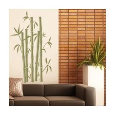 "Style and Apply Bamboo Wall Decal Size: 80"" H x 46"" W, Color: Dark Green"