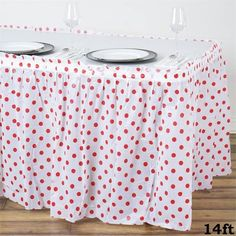 14ft Perky Polka Dots Disposable Plastic Table Skirt - White / Red