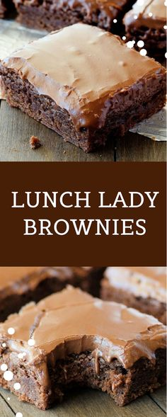 Lunch Lady Brownies are moist, full of chocolate flavor and absolutely delicious. They're like the ones the lunch ladies served for school lunch dessert, but I think this homemade version is better! Brownie Desserts, Brownie Recipes, No Bake Desserts, Just Desserts, Cookie Recipes, Delicious Desserts, Dessert Recipes, Pastries Recipes, Pancake Recipes