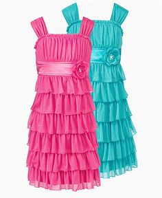 Sequin Hearts Girls Dress, Girls Tiered Ruffle Dress - Kids - Macy's