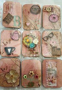 Scrapbook Paper Flowers, Scrapbook Paper Crafts, Scrapbook Supplies, Atc Cards, Card Tags, Journal Cards, Junk Journal, Pocket Scrapbooking, Scrapbooking Ideas